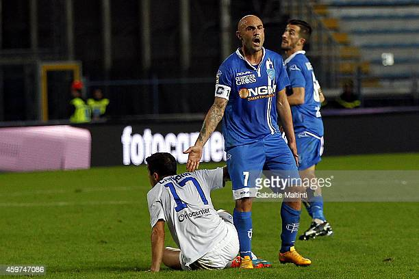 Massimo Maccarone of Empoli FC gestures during the Serie A match between Empoli FC and Atalanta BC at Stadio Carlo Castellani on November 30 2014 in...