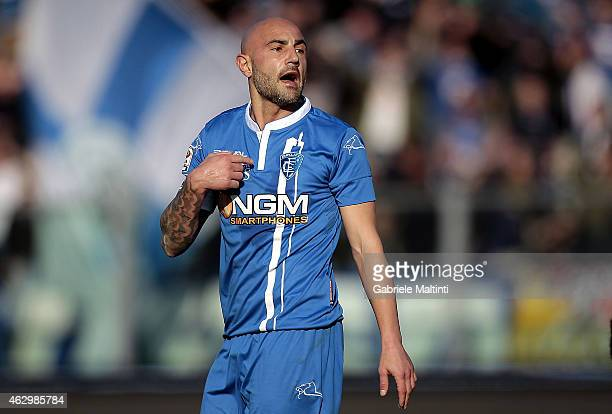 Massimo Maccarone of Empoli FC gestures during the Serie A match between Empoli FC and AC Cesena at Stadio Carlo Castellani on February 8 2015 in...