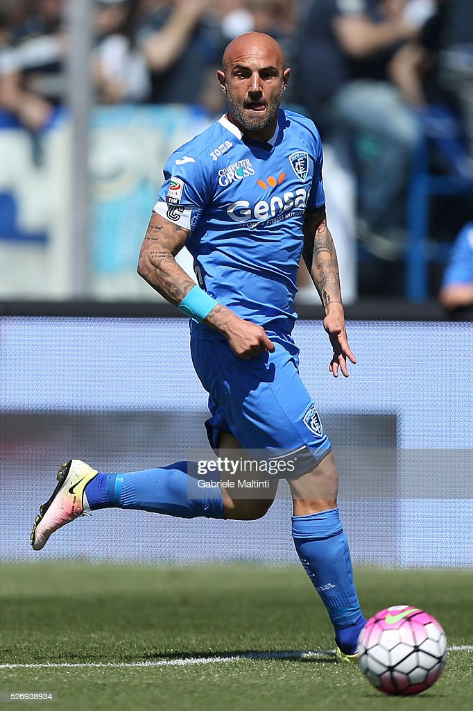 Massimo Maccarone of Empoli FC in action during the Serie A match between Empoli FC and Bologna FC at Stadio Carlo Castellani on May 1, 2016 in Empoli, Italy.