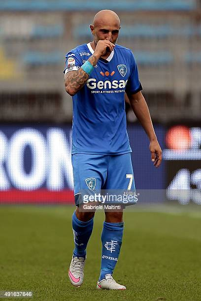 Massimo Maccarone of Empoli FC reacts during the Serie A match between Empoli FC and US Sassuolo Calcio at Stadio Carlo Castellani on October 4 2015...