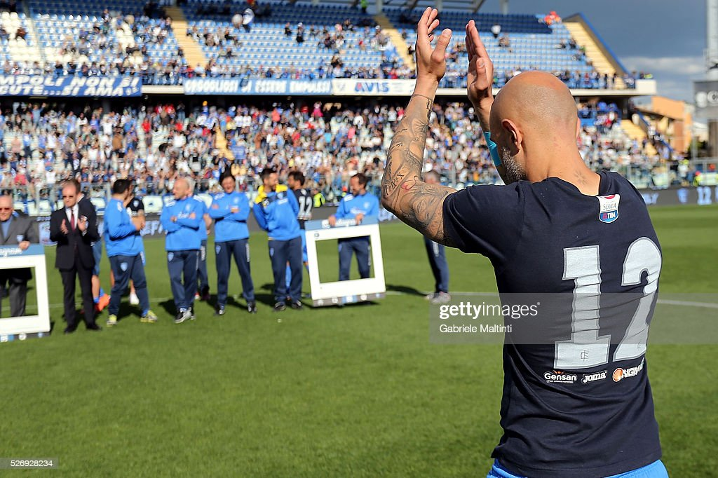 Massimo Maccarone of Empoli FC reacts during the Serie A match between Empoli FC and Bologna FC at Stadio Carlo Castellani on May 1, 2016 in Empoli, Italy.