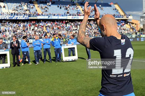 Massimo Maccarone of Empoli FC reacts during the Serie A match between Empoli FC and Bologna FC at Stadio Carlo Castellani on May 1 2016 in Empoli...