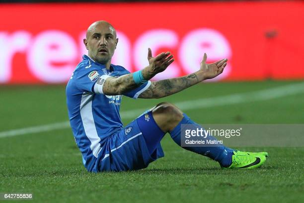 Massimo Maccarone of Empoli FC reacts during the Serie A match between Empoli FC and SS Lazio at Stadio Carlo Castellani on February 18 2017 in...