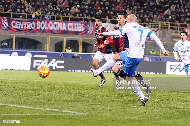 Massimo Maccarone of Empoli FC scores his team's second goal during the Serie A match between Bologna FC and Empoli FC at Stadio Renato Dall'Ara on...