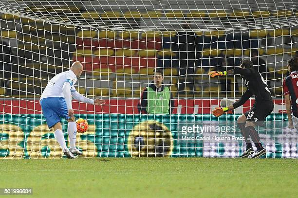 Massimo Maccarone of Empoli FC scores his team's third goal during the Serie A match between Bologna FC and Empoli FC at Stadio Renato Dall'Ara on...