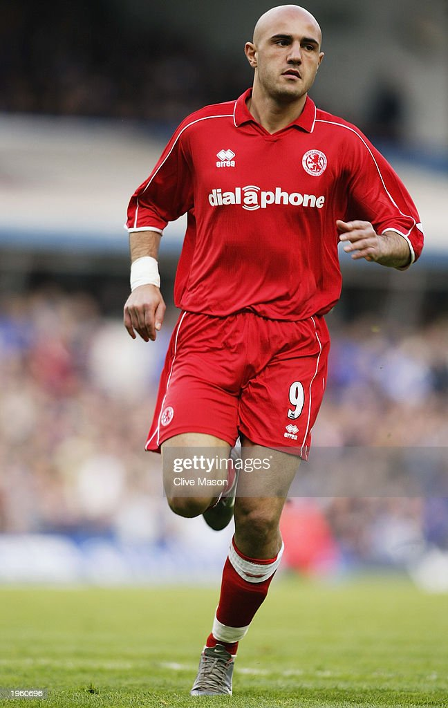 Massimo Maccarone of Middlesbrough in action during the FA Barclaycard Premiership match between Birmingham City and Middlesbrough held on April 26, 2003 at St Andrews, in Birmingham, England. Birmingham City won the match 3-0.