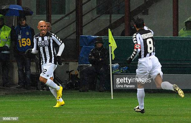 Massimo Maccarone of Siena celebrates with his team mate after scoring his team's first goal during the Serie A match between Inter Milan and Siena...