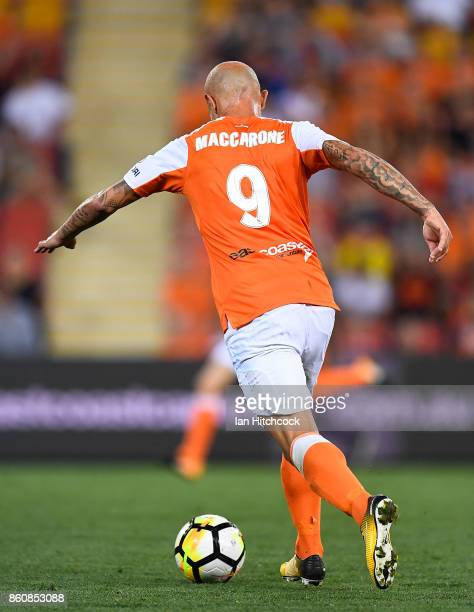 Massimo Maccarone of the Roar kicks the ball during the round two ALeague match between the Brisbane Roar and Adelaide United at Suncorp Stadium on...