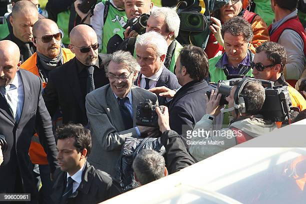 Massimo Moratti during the Serie A match between AC Siena and FC Internazionale Milano at Stadio Artemio Franchi on May 16 2010 in Siena Italy