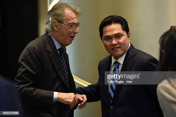 Massimo Moratti Honorary President of Inter and Erick Thohir President of Inter attend the FC Internazionale shareholder's meeting at Hotel Gallia on...