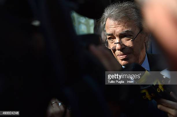 Massimo Moratti meets journalists after the FC Internazionale shareholder's meeting at Hotel Gallia on October 19 2015 in Milan Italy