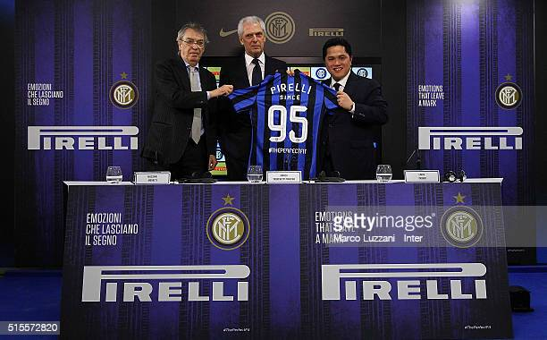 Massimo Moratti Pirelli Vice Chairmain and CEO Marco Tronchetti Provera and FC Internazionale Milano president Erick Thohir during a press conference...