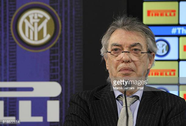 Massimo Moratti speaks to the media during a press conference at the club's training ground on March 14 2016 in Como Italy