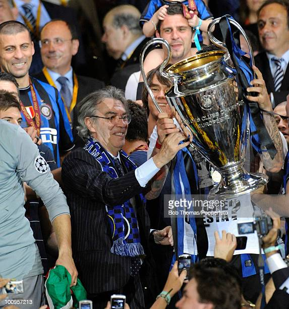 Massimo Moratti the President of Inter Milan celebrates with trophy following UEFA Champions League Final match between Bayern Munich and Inter Milan...