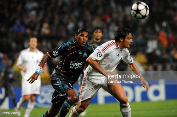BRANDAO / Massimo ODDO Marseille / Milan AC Champions League 2009/2010 Stade Velodrome Marseille