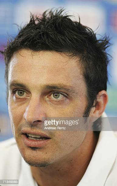 Massimo Oddo attends an Italy National Football Team press conference on July 01 2006 in Duisburg Germany