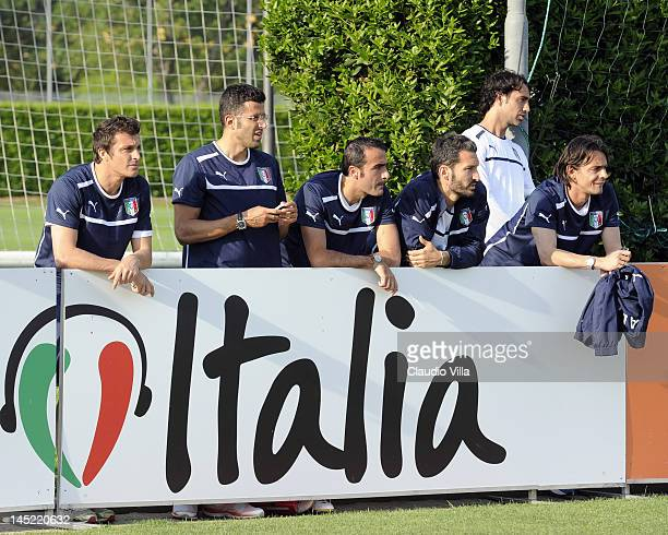 Massimo Oddo Fabio Grosso Simone Barone Giuanluca Zambrotta Alessandro Nesta and Filippo Inzaghi looks at training during a Italy training session at...
