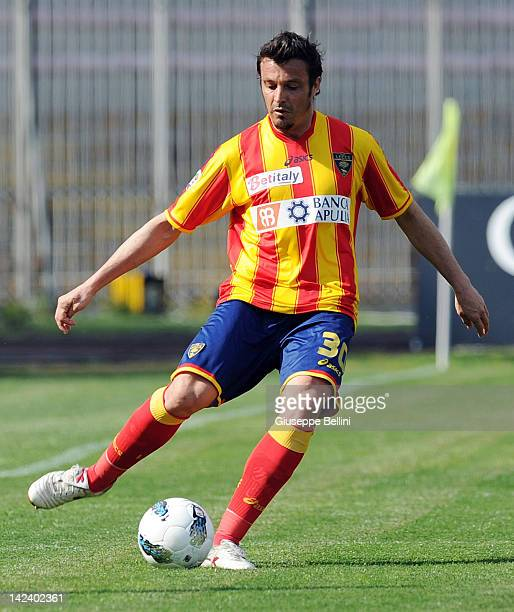 Massimo Oddo of Lecce in action during the Serie A match between US Lecce and AC Cesena at Stadio Via del Mare on April 1 2012 in Lecce Italy