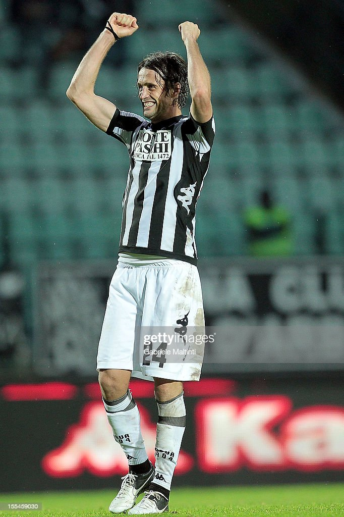 Massimo Paci of AC Siena celebrates the victory after the Serie A match between AC Siena and Genoa CFC at Stadio Artemio Franchi on November 4, 2012 in Siena, Italy.