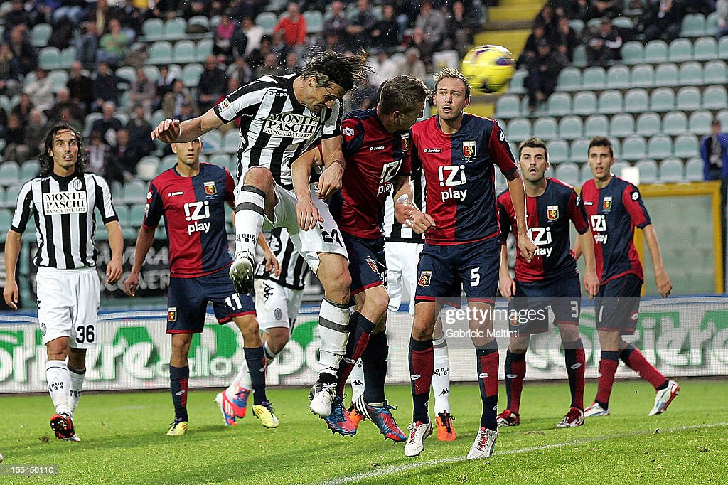 Massimo Paci (#24) of AC Siena scores the opening goal during the Serie A match between AC Siena and Genoa CFC at Stadio Artemio Franchi on November 4, 2012 in Siena, Italy.