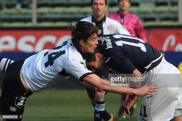 Massimo Paci of Parma competes with Aleksandar Kolarov of Lazio during the Serie A match between Parma FC and SS Lazio at Stadio Ennio Tardini on...