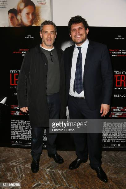 Massimo Poggio and director Giuseppe Alessio Nuzzo attends a photocall for 'Le Verita' on April 27 2017 in Rome Italy