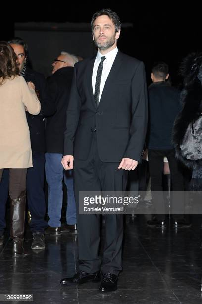 Massimo Poggio attends Dolce Gabbana fashion show as part of Milan Fashion Week Menswear Autumn/Winter 2012 at Metropol on January 14 2012 in Milan...