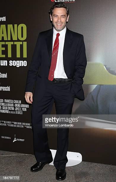 Massimo Poggio attends the preview of film 'Adriano Olivetti La forza di un sogno' on October 16 2013 in Milan Italy