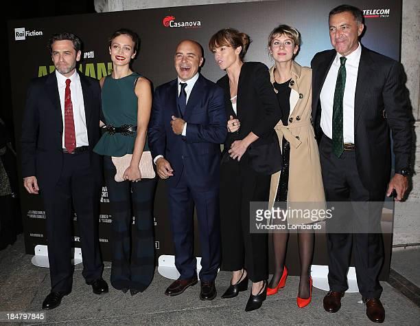 Massimo Poggio Francesca Cavallin Luca Zingaretti Stefania Rocca Elena Radonicich and Luca Barbareschi attend the preview of film 'Adriano Olivetti...