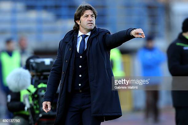 Massimo Rastelli manager of Cagliari Calcio gestures during the Serie A match between Empoli FC and Cagliari Calcio at Stadio Carlo Castellani on...