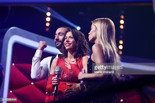 Massimo Sinato Jana Pallaske and Sylve Meis are seen on stage during the 2nd show of the television competition 'Let's Dance' on March 18 2016 in...