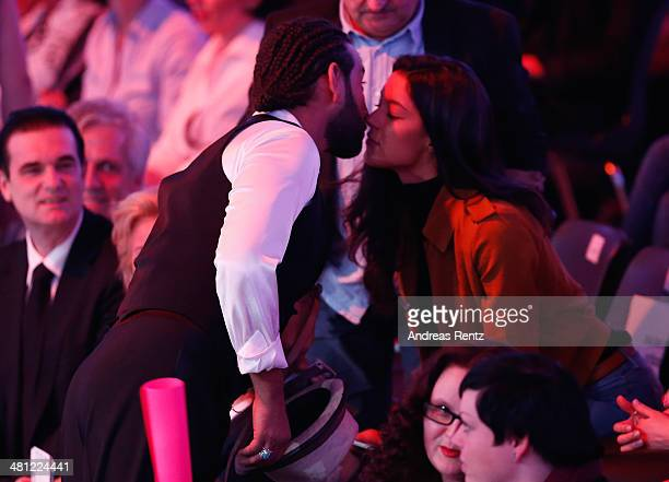 Massimo Sinato kisses Rebecca Mir prior to the 1st Show of 'Let's Dance' on RTL at Coloneum on March 28 2014 in Cologne Germany