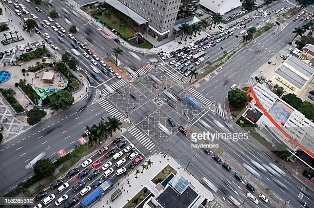 Massive busy cross roads traffic of Faria Lima, Sao Paolo