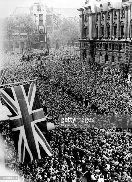 8th May 1945 A massive crowd jams into London's Whitehall for the VE Day celebrations