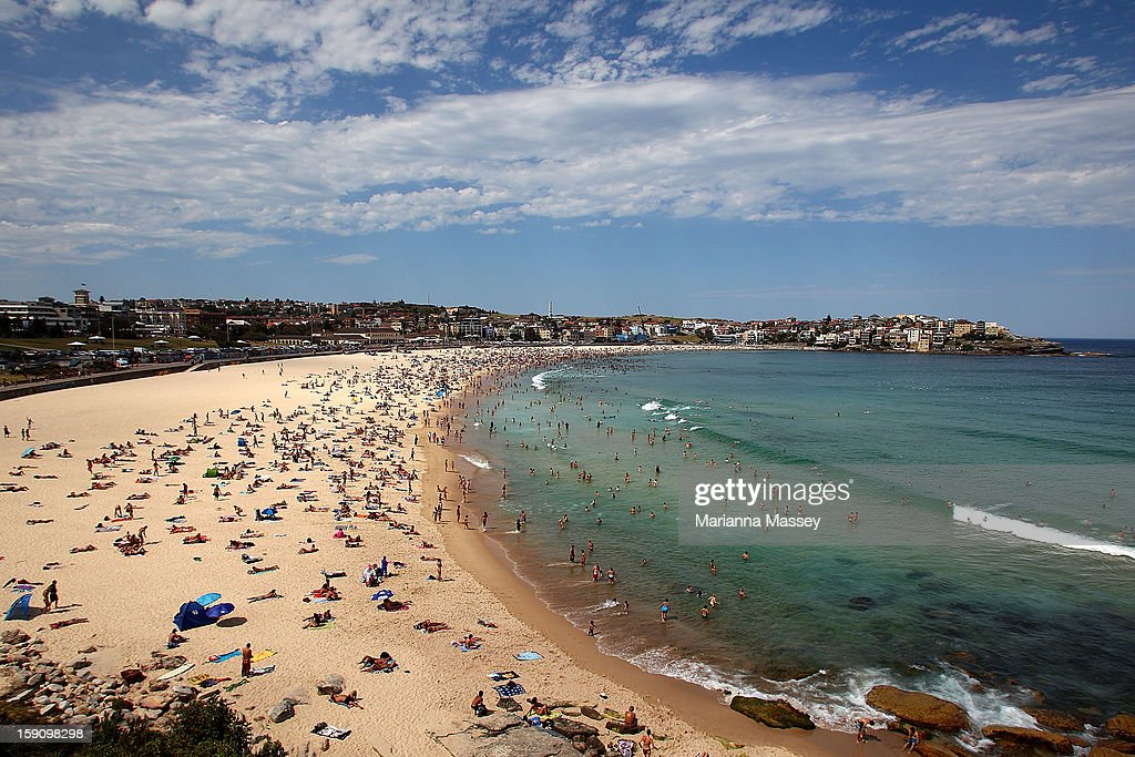 Massive crowds flock to Bondi Beach to cool off in the waters on January 8, 2013 in Sydney, Australia. Temperatures are expected to reach as high as 43 degrees around Sydney today.