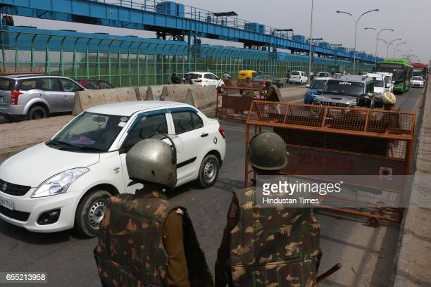 Massive jam at DND Kalinidi Kunj after Noida police had put barricades to block all lanes ahead of Jat agitation in Delhi on March 19 2017 in Noida...