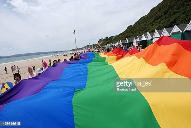 Massive Pride Flag at Bournemouth Beach