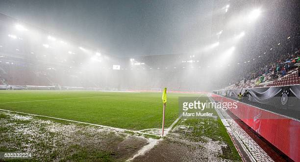Massive rain and hailstorm is seen during halftime break dunring the international friendly match between Germany and Slovakia at WWKArena on May 29...