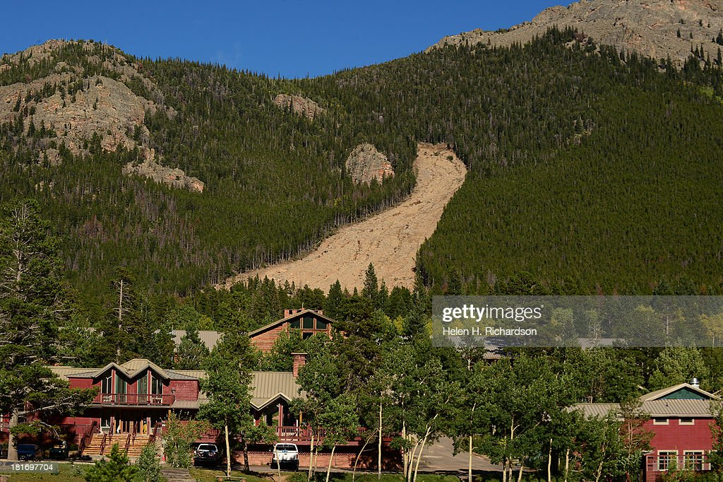 A massive tree slide is seen along the Peak to Peak highway between Estes Park and Allenspark Co on September 23 2013 The massive slide is evidence...