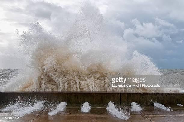 Massive wave hits sea wall