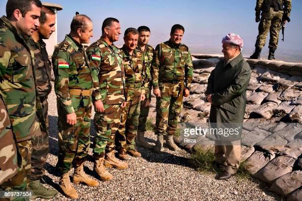 Massoud Barzani president of Regional Government of KurdistanIraq and his staff settled their HQ near the frontline of Sinjar the city was freed from...