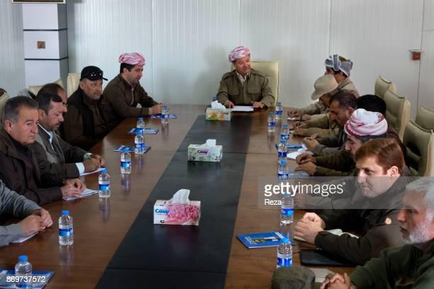 Massoud Barzani president of Regional Government of KurdistanIraq and his staff during a strategic meeting in their HQ near the frontline of Sinjar...