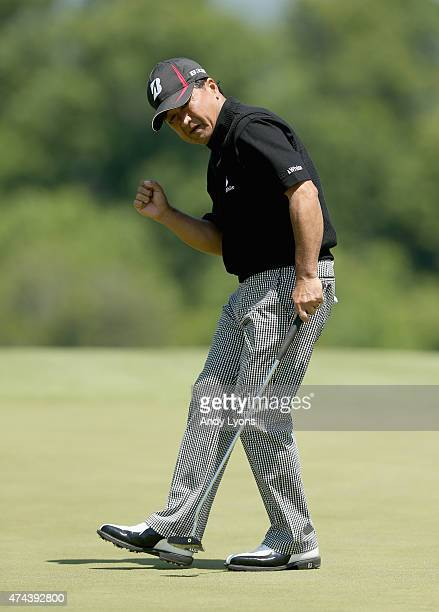 Massy Kuramoto of Japan celebrates after making a birdie on the 16th hole during round two of the Senior PGA Championship Presented By KitchenAid at...