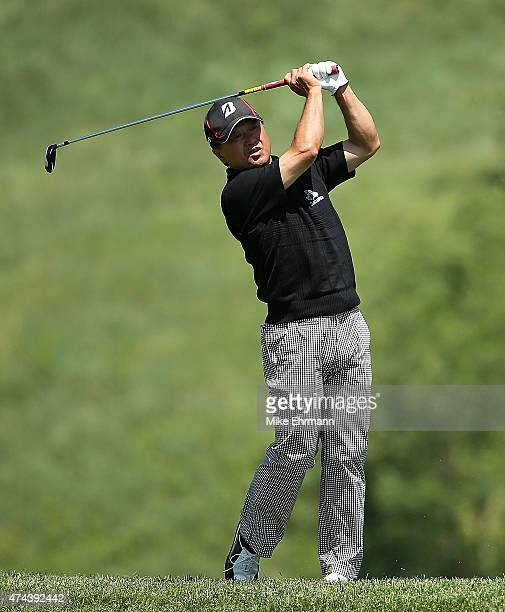Massy Kuramoto of Japan hits his approach on the 16th hole during the second round of the Senior PGA Championship Presented By KitchenAid at the Pete...
