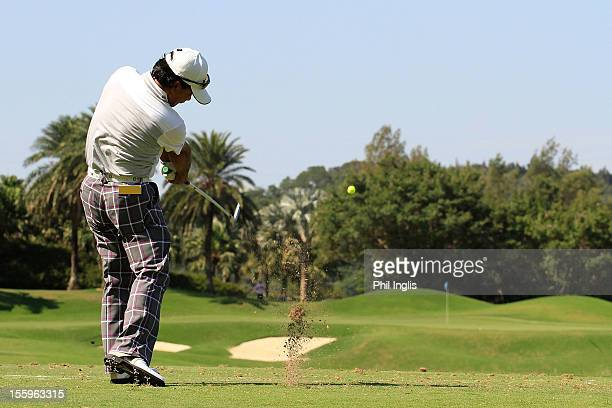 Massy Kuramoto of Japan in action during the second round of the Fubon Senior Open played at Miramar Golf and Country Club on November 10 2012 in...