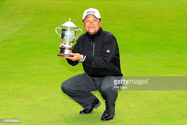 Massy Kuramoto of Japan poses with the trophy after the final round of the Van Lanschot Senior Open played at Royal Haagsche Golf and Country Club on...