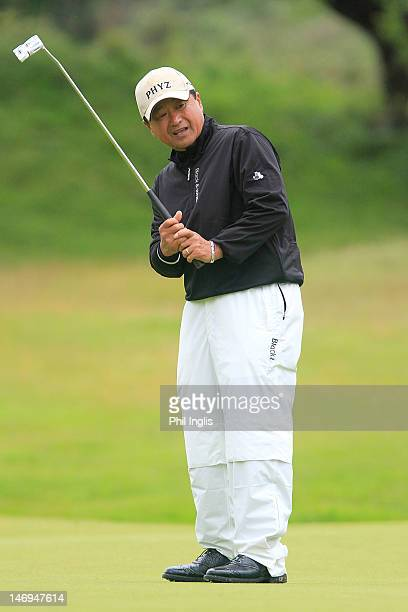 Massy Kuramoto of Japan putts during the final round of the Van Lanschot Senior Open played at Royal Haagsche Golf and Country Club on June 24 2012...