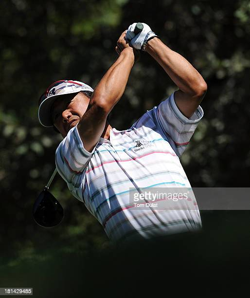 Massy Kuramoto of Japan tees off from the1st hole during the second round of the French Riviera Masters played over the Chateau Course Terre Blanche...