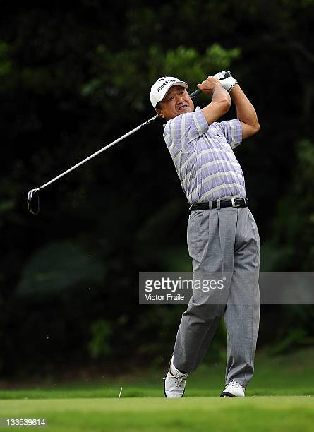 Massy Kuramoto of Japan tees off on the 2nd hole during day three of the Fubon Senior Open at Miramar Golf Country Club on November 20 2011 in Taipei...