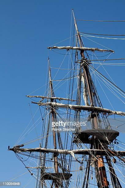 Mast and rigging of a tall ship